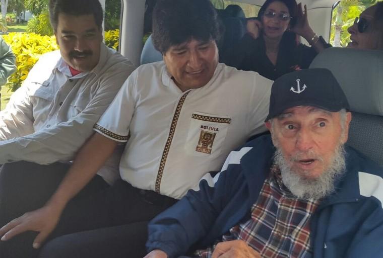 Image: Nicolas Maduro, Evo Morales, Fidel Castro