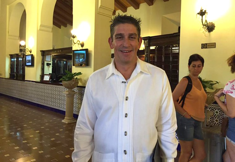 """Poet Richard Blanco, who is Cuban American, recited his poem """"Matters of the Sea"""" at the flag-raising ceremony at the U.S. Embassy in Havana Aug. 14, 2015. In this photo, he is standing in the lobby of the legendary Hotel Nacional where he said the event for him meant two parts of him were coming together."""