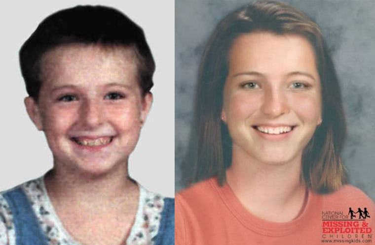 Teresa Dean pictured at 11-year-old (left) alongside an age progression photo of what she may look like at 19 (right).