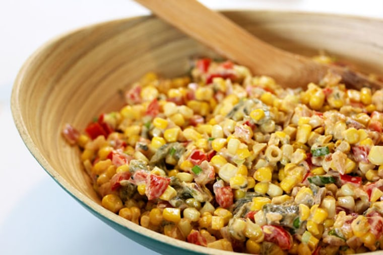 Healthy Spicy Corn with Roasted Poblanos