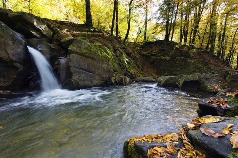 Waterfall in the Carpathians Mountains