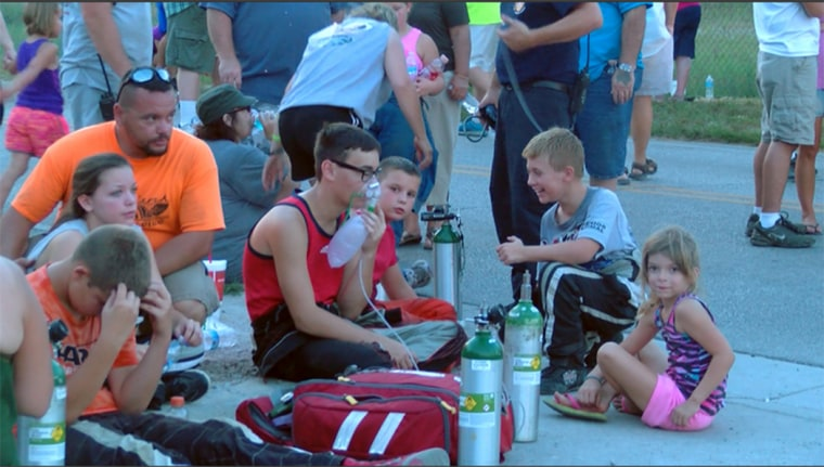 Image: A chemical spill causes a mass evacuation at the Quarter Midget Track in Terre Haute.