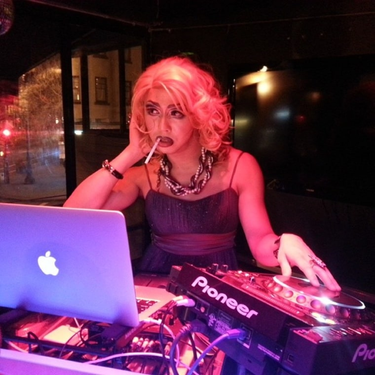 Image: Doncha Vishyuwuzme guest DJs during a Rice Rockettes Show at the lookout bar in San Francisco.