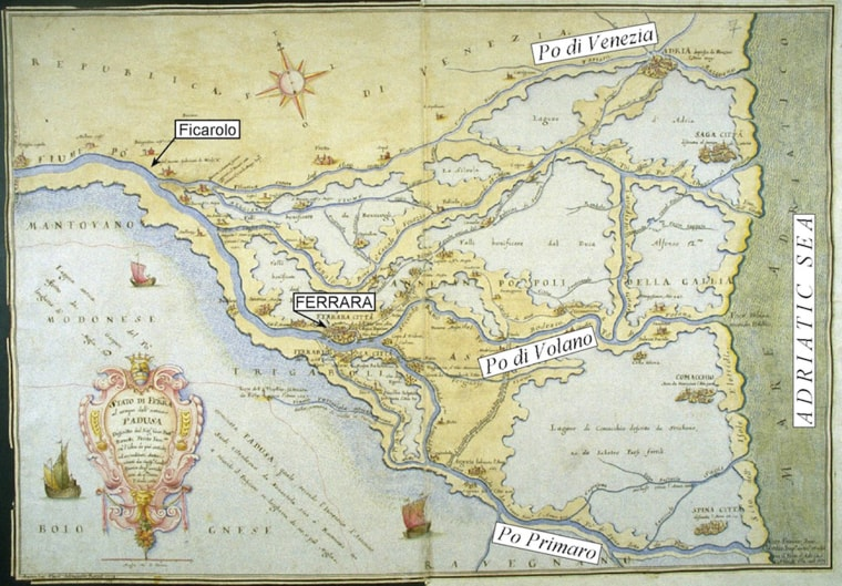 A map of the Po River and surroundings from 1568, before a 1570 quake uplifted the river's right bank near its terminus, causing the river to change course and shifting the delta 25 miles north.