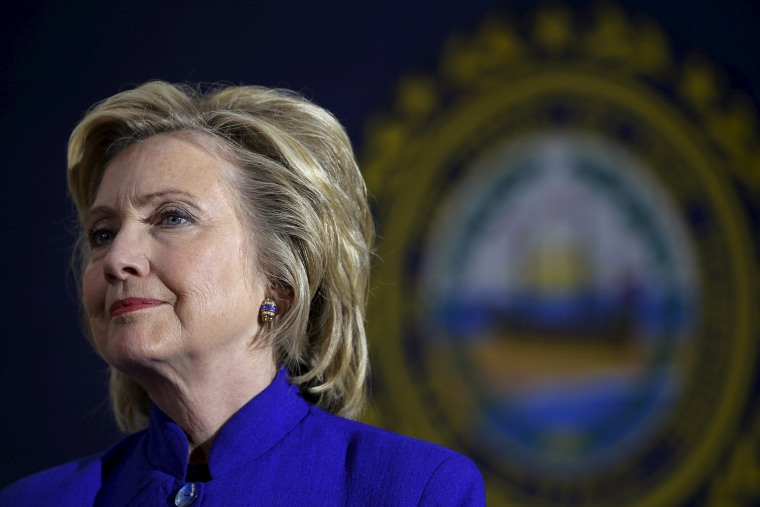 Image: U.S. Democratic presidential candidate Hillary Clinton listens to a question from the audience during a community forum about substance abuse in Keene, New Hampshire