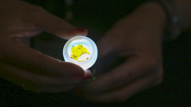 Blythe Huestis shines a light through a marijuana concentrate product sold at Natural Selections, a medical marijuana dispensary in Cave Creek, Arizona.