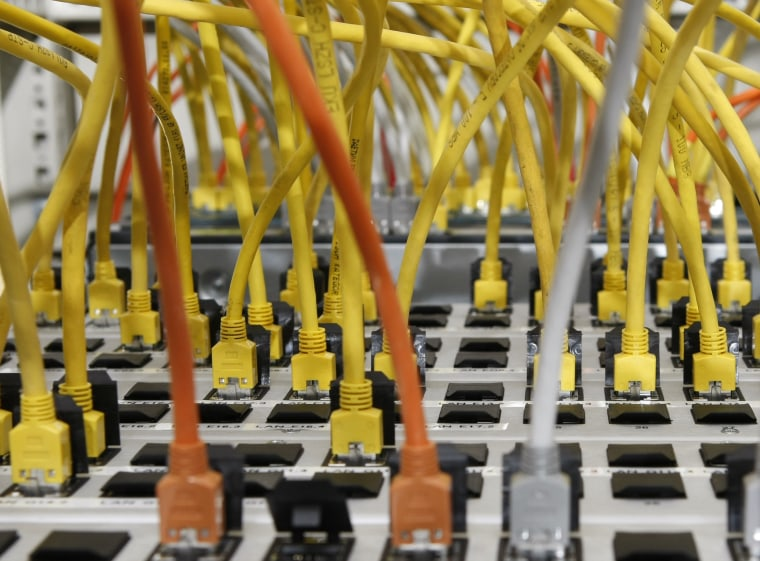 Image: Server connected to data cables