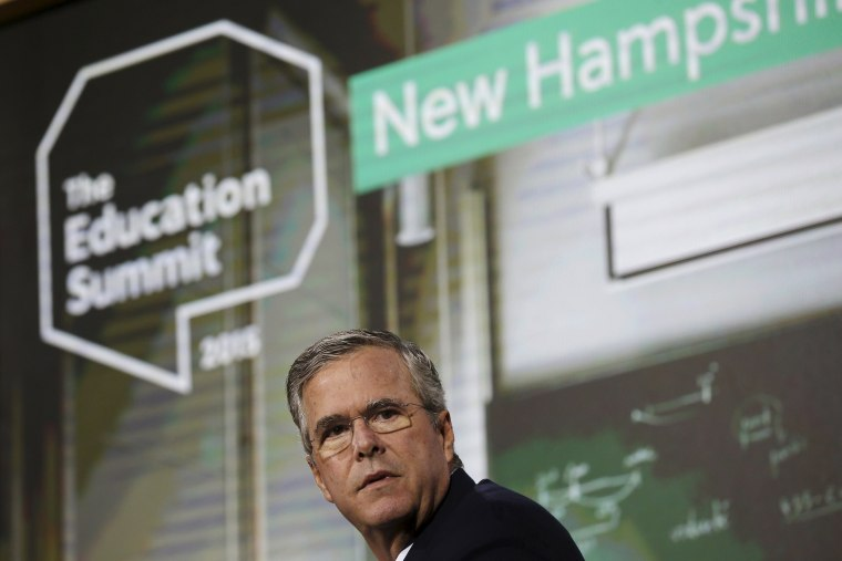 Image: U.S. Republican presidential candidate Jeb Bush speaks at the New Hampshire Education Summit in Londonderry