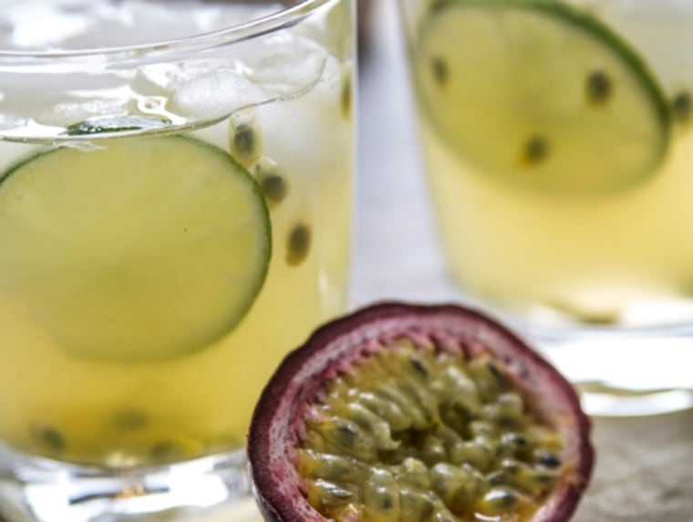 """Yvette Marquez-Sharpnack and Vianney Rodriguez's """"Passion Fruit Caipirinha,"""" one of the recipes in their new book, """"Latin Twist."""""""
