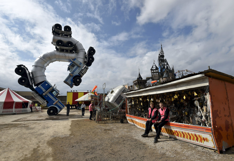 """""""Dismaland,"""" a theme park-styled art installation by British artist Banksy, at Weston-Super-Mare in southwest England, Britain, August 20, 2015."""