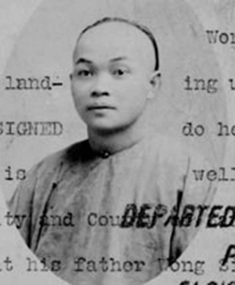 Wong Kim Ark appears in an image attached to his 1894 departure statement fom San Francisco, an Immigration and Naturalization Service record that allows him to return to the United States.