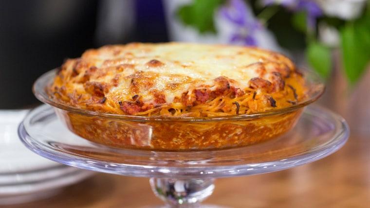 Adam Richman's recipe for spaghetti pie