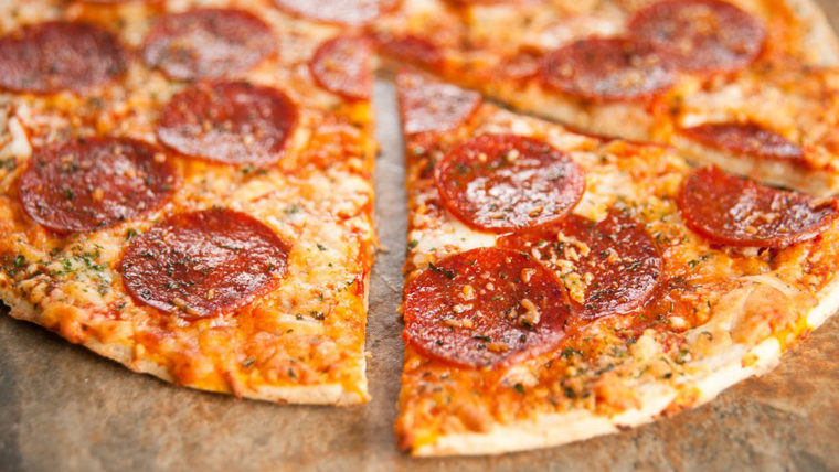 Image: Freshly Baked Thin Crust Pepperoni and Cheese Pizza;