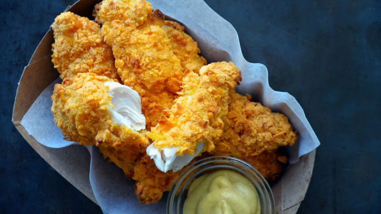 Chicken tenders with Cheez-It crust