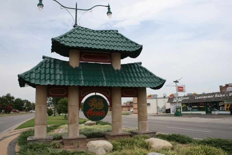 A sign welcomes visitors to Oklahoma City's Asian District.