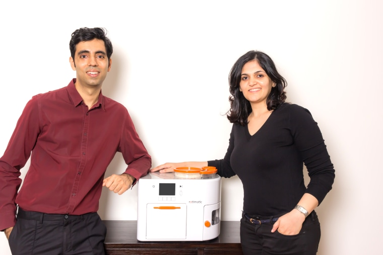 Zimplistic co-founders and Rotimatic inventors (L-R) Rishi Israni, software engineer and CEO, and Pranoti Nagarkar, mechanical engineer and Chief Technical Officer.