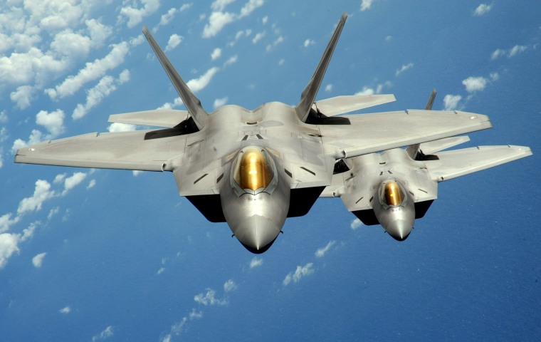 Image: U.S. Air Force handout photo of two F-22 stealth fighters