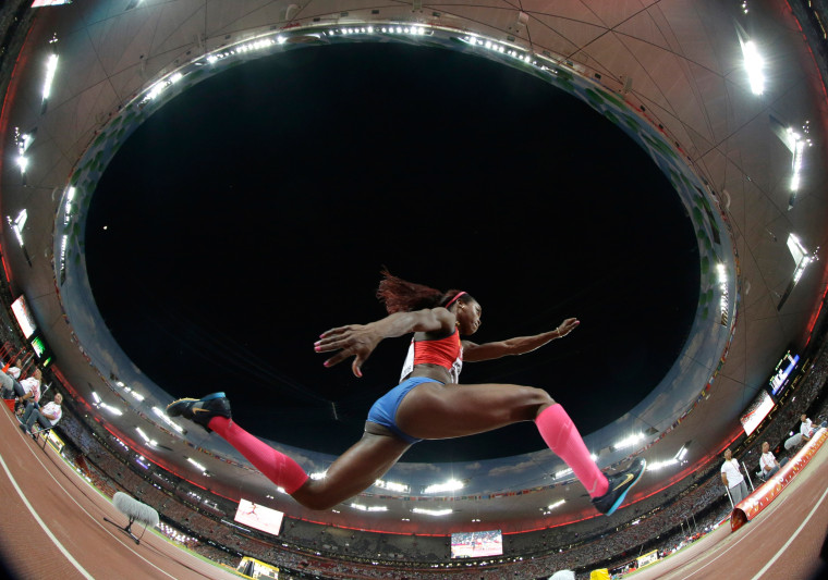Image: Colombia's Caterine Ibarguen competes in the women's triple jump final
