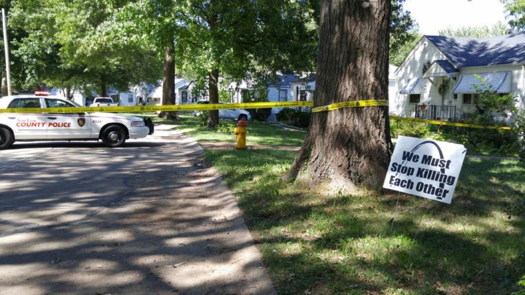 Image: The St. Louis County Police Department posted a photo on Twitter of the crime scene where a child was fatally shot.