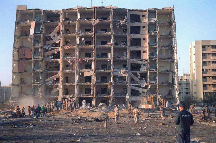 Image: The ruins of the Khobar Towers military complex in Saudi Arabia after an attack that killed 19 U.S. servicemen in June 1996.