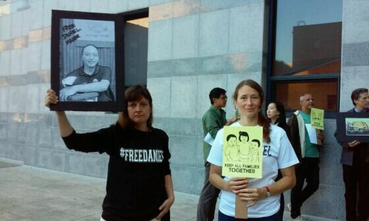 Maher's co-workers protested at ICE headquarters in San Francisco on Aug. 12. Community pressure helped bring about Maher's release.