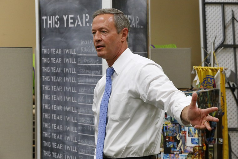 Democratic presidential candidate, former Maryland Gov. Martin O'Malley speaks at a meet and greet Sunday, Aug. 23, 2015, in Muscatine, Iowa. (AP Photo/Paul Sancya)