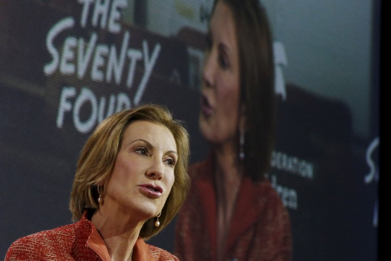 Image: U.S. Republican presidential candidate Carly Fiorina speaks at the New Hampshire Education Summit in Londonderry