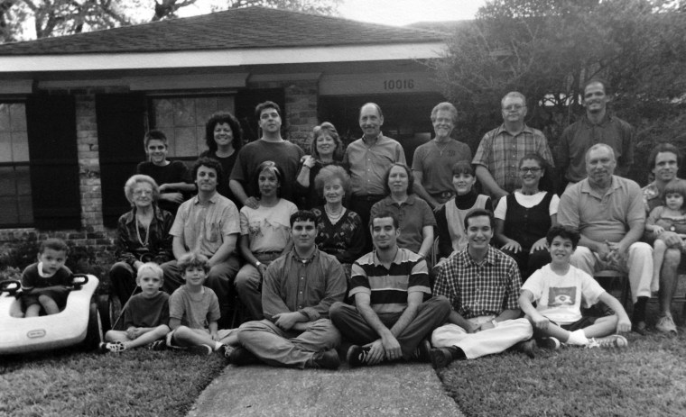 The Higgins family outside of the home where Karen Chester grew up and planned to raise her children in New Orleans, LA.