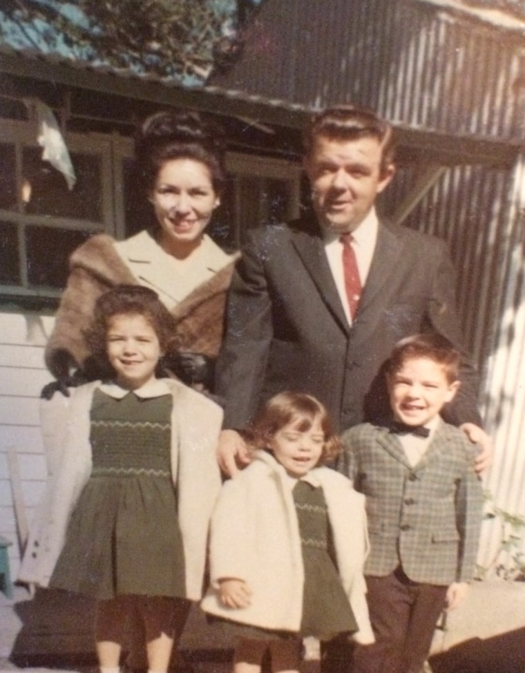 John Higgins with his first wife and children at their New Orleans home.