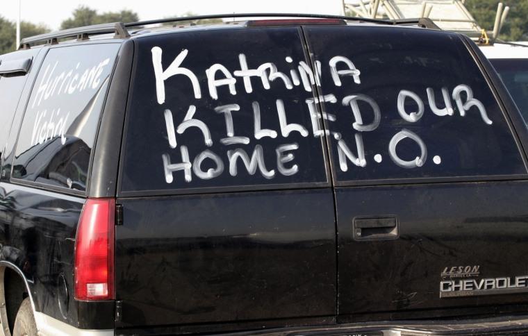 An evacuee from Hurricane Katrina has written their feelings
