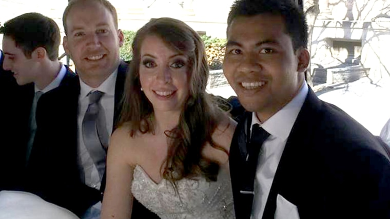 Mike Carter with his sister Jess and her husband Solomon on the couple's wedding day.