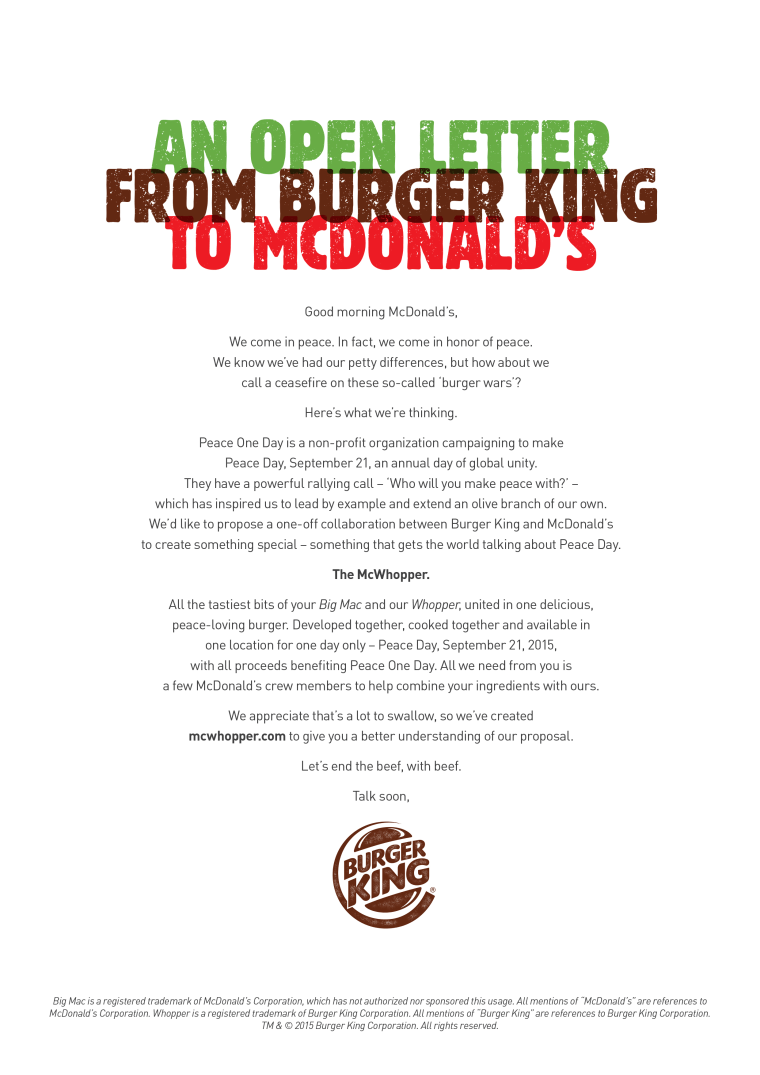 Burger King calls for 'peace' with McDonald's — could it lead to the McWhopper?