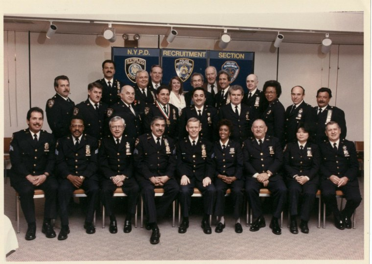 Chan (first row, second from r.) with members of the NYPD Committee of Police Societies around 1989.