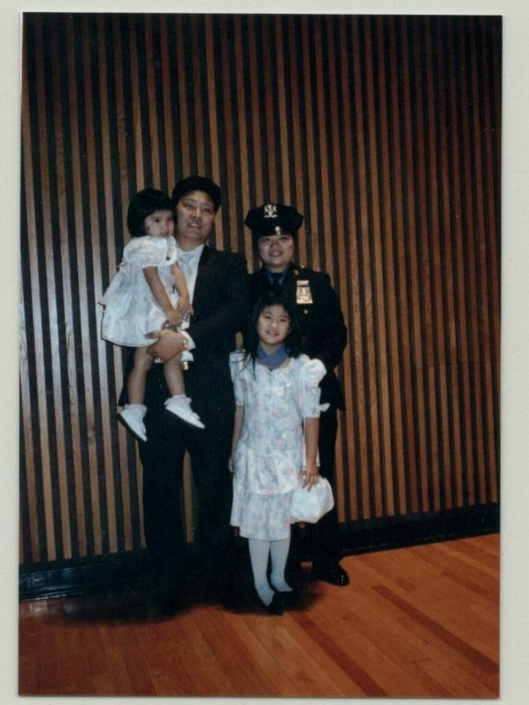 Chan, with husband Wilson and daughters Tiffany and Stephanie, at a promotion ceremony at 1 Police Plaza in 1991.
