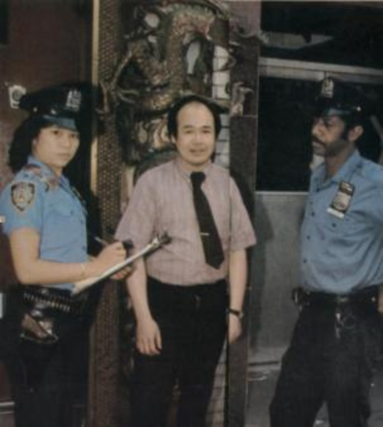Chan, with Police Officer Sonny Carter and a Chinatown business owner, in 1981.