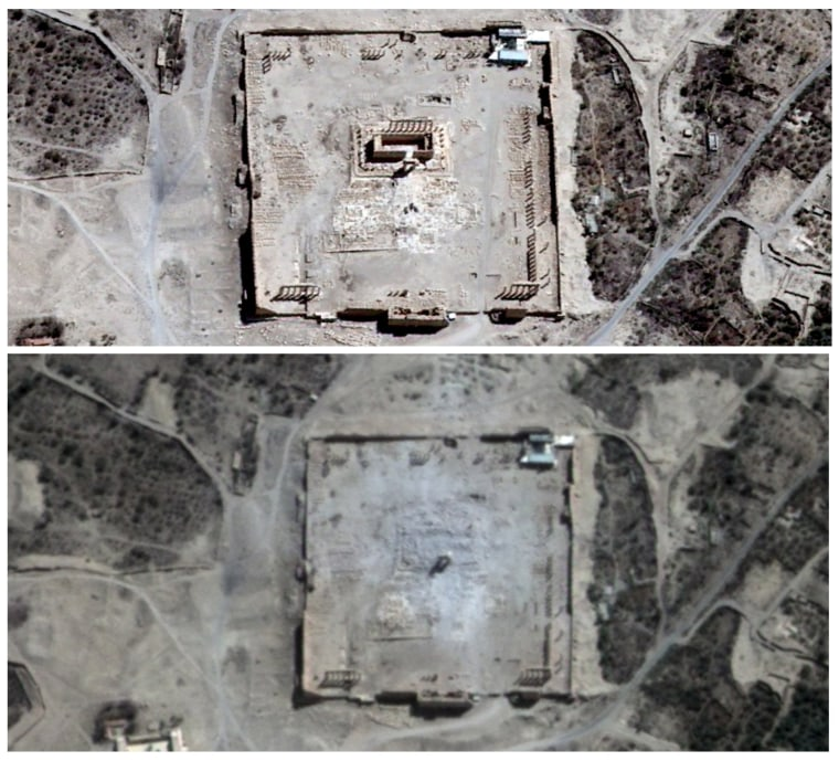 Image: Handout satellite image shows the site of the Temple of Bel before its apparent destruction in Palmyra, Syria