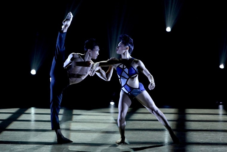 """Top 14 contestants Yorelis Apolinario (R) and Jim Nowakowski (L) perform a Jazz routine choreographed by Sonya Tayeh on """"So You Think You Can Dance."""""""