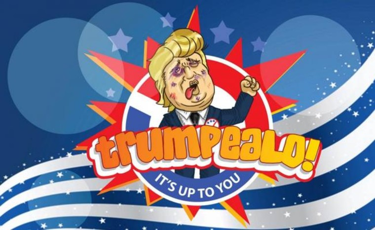 "An image from the video game ""Trumpéalo"", currently in a Beta version users can access and try. It is being developed by the Mexican app developers Karaoculta."