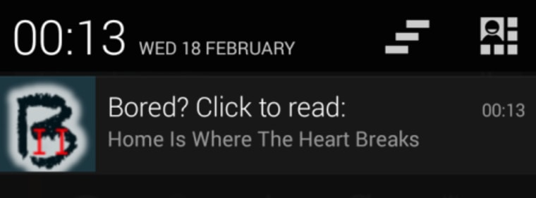 Example of a notification the participants would receive.