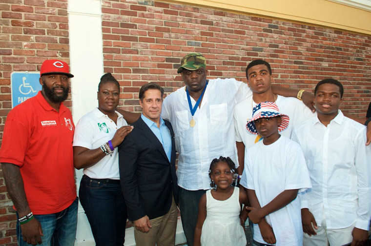 Addonis Parker with Trayvon martin's parents and MDCPS Superindent Alberto Carvalho.