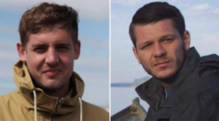 Image: VICE News has received confirmation from the British government that two of its journalists had been released - Philip Pendlebury (left) and Jake Hanrahan.