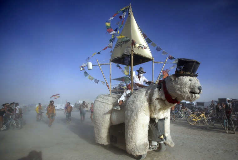 "Image: A Mutant Vehicle made up like a polar bear drives through the dust during the Burning Man 2015 ""Carnival of Mirrors"" arts and music festival in the Black Rock Desert of Nevada"