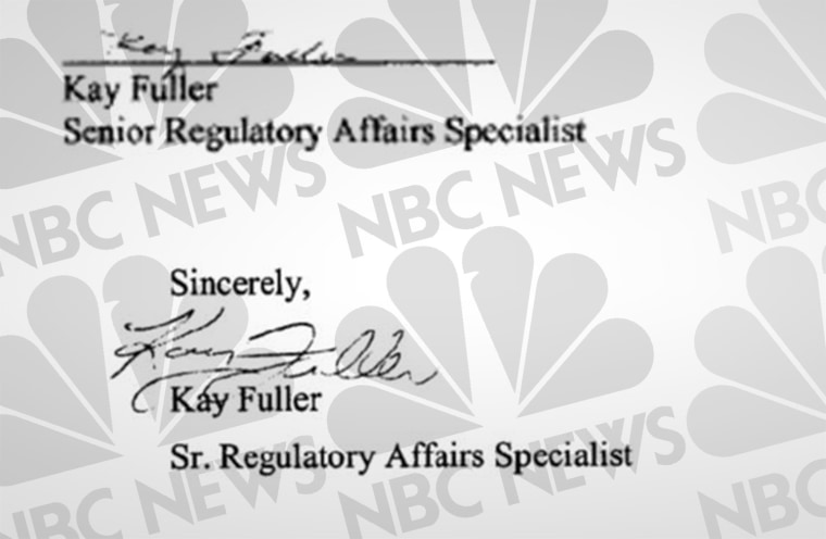 Above, the signature on C.R. Bard's FDA application, which Kay Fuller says she did not sign. Below, what Fuller says is her actual signature.
