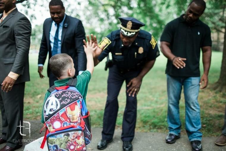 MLK Elementary high fives