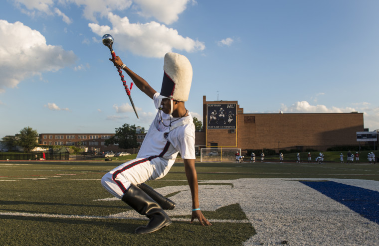 Howard University's marching band prepares for halftime show