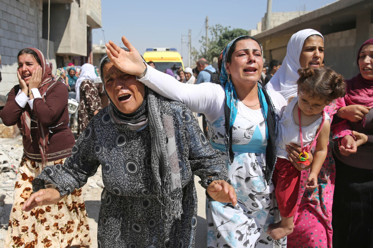 Funeral of drowned Syrian children Aylan, Galip and their mother in Kobani