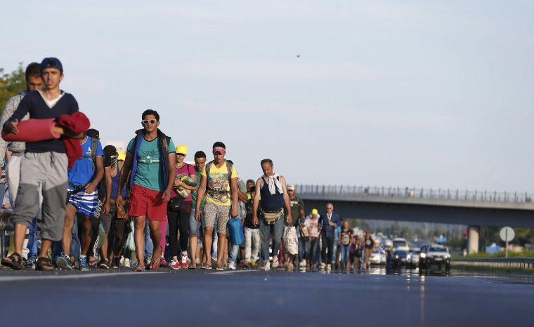 Image: Migrants march along the highway towards the border with Austria