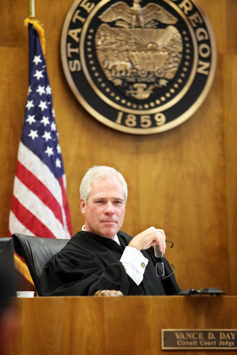 In this photo taken Oct. 26, 2012, Marion County Circuit Judge Vance Day presides over his courtroom in Salem, Ore.