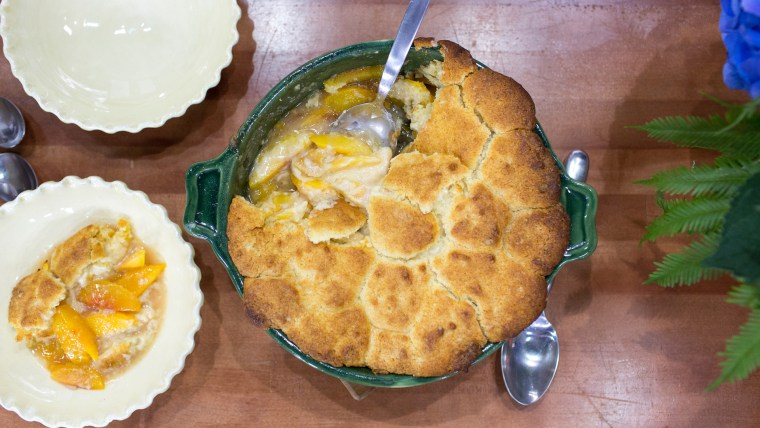 Delicious peach and nectarine cobbler recipe from Tanya Holland