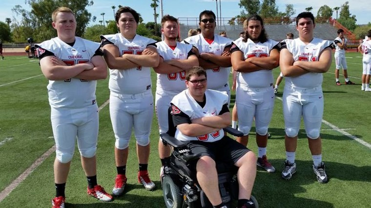 Chaparral High School's varsity offensive line added Kevin Groeger to their roster this season.